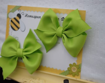 Green Hair Bows - Apple Green Hairbow Pair - Pigtail Bow Clips - Set of Two Flat Loop Bows - Toddler Girls Piggy Tail Bow Set - School Girl