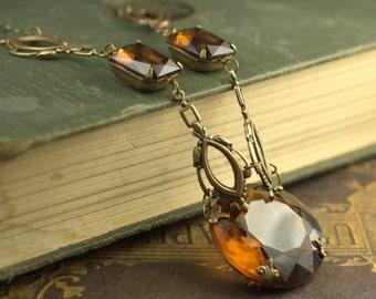 Art nouveau crystal necklace jewel statement brown topaz bronze vintage glass gem gatsby brass