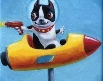 Boston Terrier Space Rocket - Dog Art Magnet