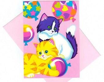 Lisa Frank Balloon Kittens Note Card w/ envelope RARE Vintage 90's