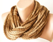 SALE-Infinity Scarf - Loop Scarf - Circle Scarf - Cowl Scarf - Wool -  Brown-Chunky Chain Cozy