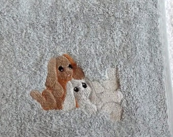 Cute Rabbits Embroidered Hand Towel