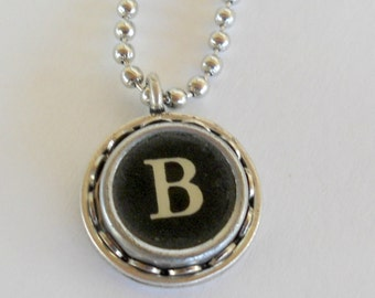 Recycled jewelry, Initial Necklace, Typewriter Key Necklace, the letter B, Vintage, Initial Jewelry,  All Letters Available