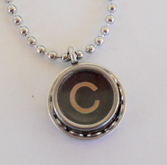 initial jewelry typewriter key necklace vintage by