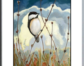 Woodland Birds - Children's Room - Nursery - Art Print - Be Still and Know - Chickadee