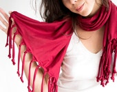 SALE Tassel Scarf Shawl in Claret