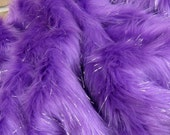 Amethyst Sparkle - long wispy purple with tinsel 45mm pile synthetic faux fur fabric -1/4m piece