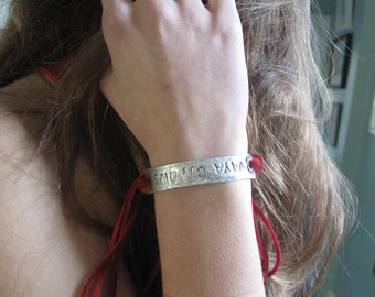 vaya con dios,  chiquita bracelet with fairtrade red deerskin laces in recycled fine silver