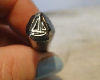 Big Design Stamp - SAILBOAT - 3/8 inch (9.5mm) - includes How to Stamp Metal tutorial - In sTOCK - Ready to sHIP