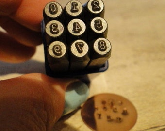 TYPEWRITER NUMBERS - steel number stamps - 5/64 inch (2mm) size - how to stamp tutorial