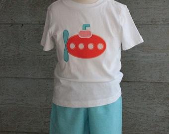 Orange submarine tee shirt and gingham short set