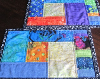 Batik placemats, set of two, or table runners. bright colors