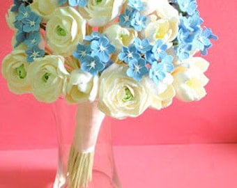 Blue clay wedding bouquet forget me nots ranunculus tulips white decoclay