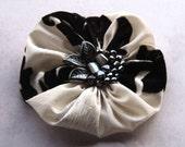 Large silk flower pin - black and white silk flower brooch