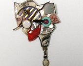 Mod Upcycled Brooch, Unique Brooch, Handmade Brooch, Constructionist Retro 1980,  Collage Brooch, Recycled Materials, Sterling pendant.