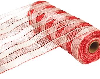 "RE1351N5 - 10"" Red White Even Stripe Foil Plaid Deco Mesh"