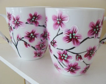 Pink Cherry Blossoms Mug Cup Set pink and black cherry blossom tree dining dishware pretty set of flowers floral  Hand Painted