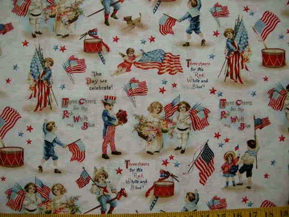 Retro patriotic americana fabric victorian children for Retro childrens fabric