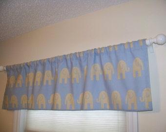 CLEARANCE SALE! Elephant Ele Window Valance Custom Made in Mist Blue & Putty Grey Ele Print Fabric
