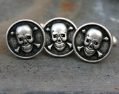 Skull Cufflinks and Tie Tack Set