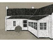 13 x 19 Print of Original Illustration - Nanas House at the Back Door