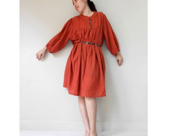 Orange cotton Front Buttons Loose Simply  Tunic Dress  (DS 1)