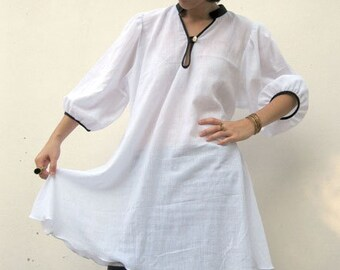 Custom Made White Cotton Black Hem Neck and Sleeves Casual   Blouse S-L ( H)