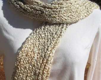Hand Made Loom Knit Hat And Scarf Set - Oatmeal - Tans Beige Cream