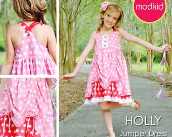 HOLLY Jumper Dress PDF Downloadable Pattern by MODKID... sizes 2T to 10 Girls included - Instant Download
