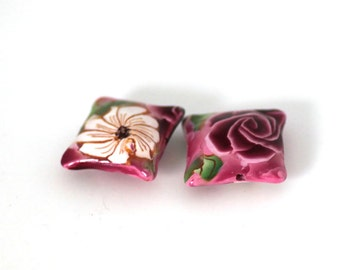 Pillow Beads, Pink Rose Beads, Polymer Clay Beads Pair, 2 Pieces