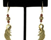 Steampunk Antiqued Brass Ornate Feather Wing Earrings with Filigree and Burgundy Swarovski Crystal Beads by Velvet Mechanism