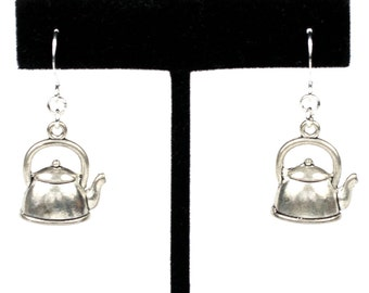 Charming Steampunk Antiqued Silver Tea Pot Kettle Earrings by Velvet Mechanism