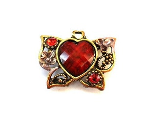 Metal bead, jewel trim, antiqued brass with heart shape red plastic rhinestone