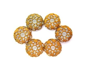 10 VINTAGE flower cap beads, metal lace design 12mmx3mm height