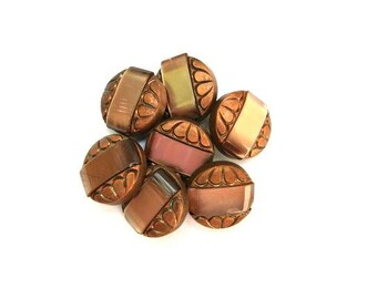 6 Antique vintage buttons, bronze color plastic buttons with light brown trim, 18mm beautiful buttons