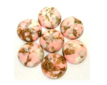 10 Vintage cabochon, lucite plastic, white rose pink with gold color glitters, 14mm