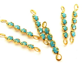 6 Vintage Swarovski crystal connector beads, 4 opaque turqoise rhinestones in brass setting-GOLD PLAITED