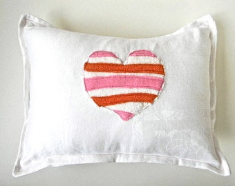 mod stripe heart  pillow orange and pinks