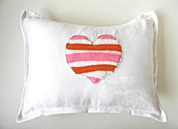 mod stripe heart  pillow orange and pinks