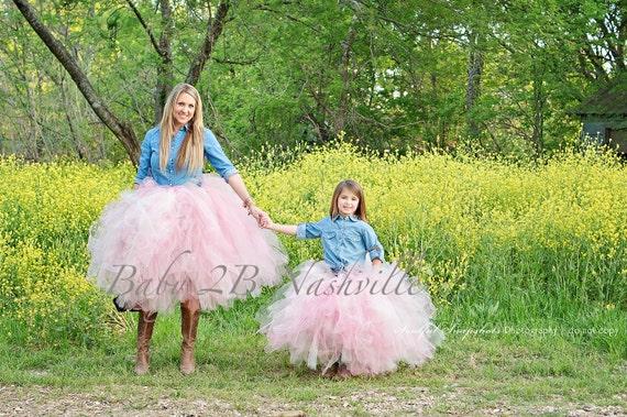 Mommy and Me Wedding Dress Tutu Skirt Flower Girl Skirt Tulle Skirt Tutu Skirt Baby Skirt Toddler Skirt  Pink Tutu Grey Skirt Girls Skirt