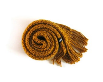 Mens Scarf, Golden Yellow Scarf, Scarf with Fringes, Cute Scarf, Womens Scarves, Wrap Scarf, Wool Scarf, Long Scarf, Chunky Knit Scarf