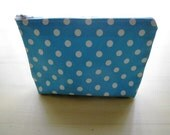 Polka Dots Baby Blue - Large Zippered Pouch
