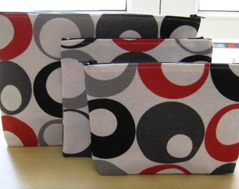 Circles - Three piece Zippered Pouch Set for Travel, Cords, Make up bag set 3 Pieces