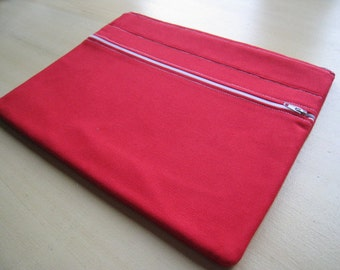 """Simply Red - Front Zippered Pocket - Macbook 13"""" Air or Macbook 13 Inch Pro - Laptop Case Sleeve Cover Bag - Padded and Zipper Closure"""