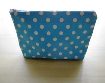 Polka Dots Baby Blue - Large Zippered Pouch Case Zipper Bag - Ready to Ship