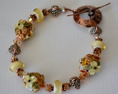 Copper Flowers Lampwork Bracelet with Copper and Swarovski Crystals
