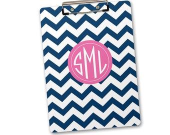 Personalized, Monogrammed Clipboard - chevron with classic monogram - custom