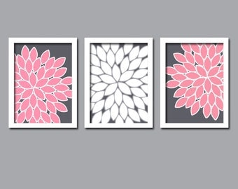 Wall art canvas artwork pink gray grey white flower burst for Pink and grey bathroom decor