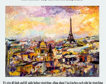 Paris Eiffel Tower HUGE Original Oil Painting SALE  Linen 46 by 60 inches by Ginette Unstretched