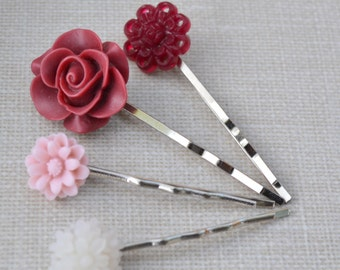 Burgundy and Pink Flower Hair Pins, Flower Bobby Pins, Vintage Buttons, Resin Cabochon Hair Accessory